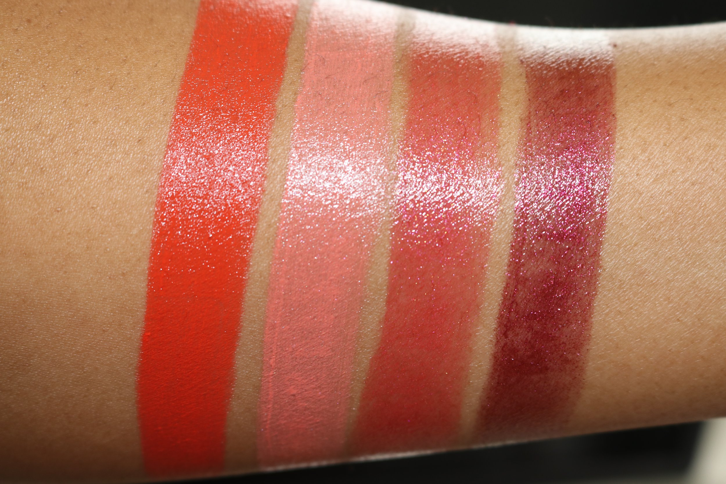 Swatches L to R:340 Hot Rumor (creme), 350 Sly Wink (shimmer pearl), 360 Flash Chill (shimmer pearl), 370 Pocket Venus (cooled chrome)