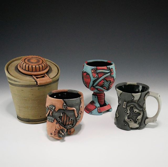 These pots along with some others have been added to my online store.  Check em out if you're interested.  #pottery #ceramics #clay #pots #online #store #cup #mug #jar