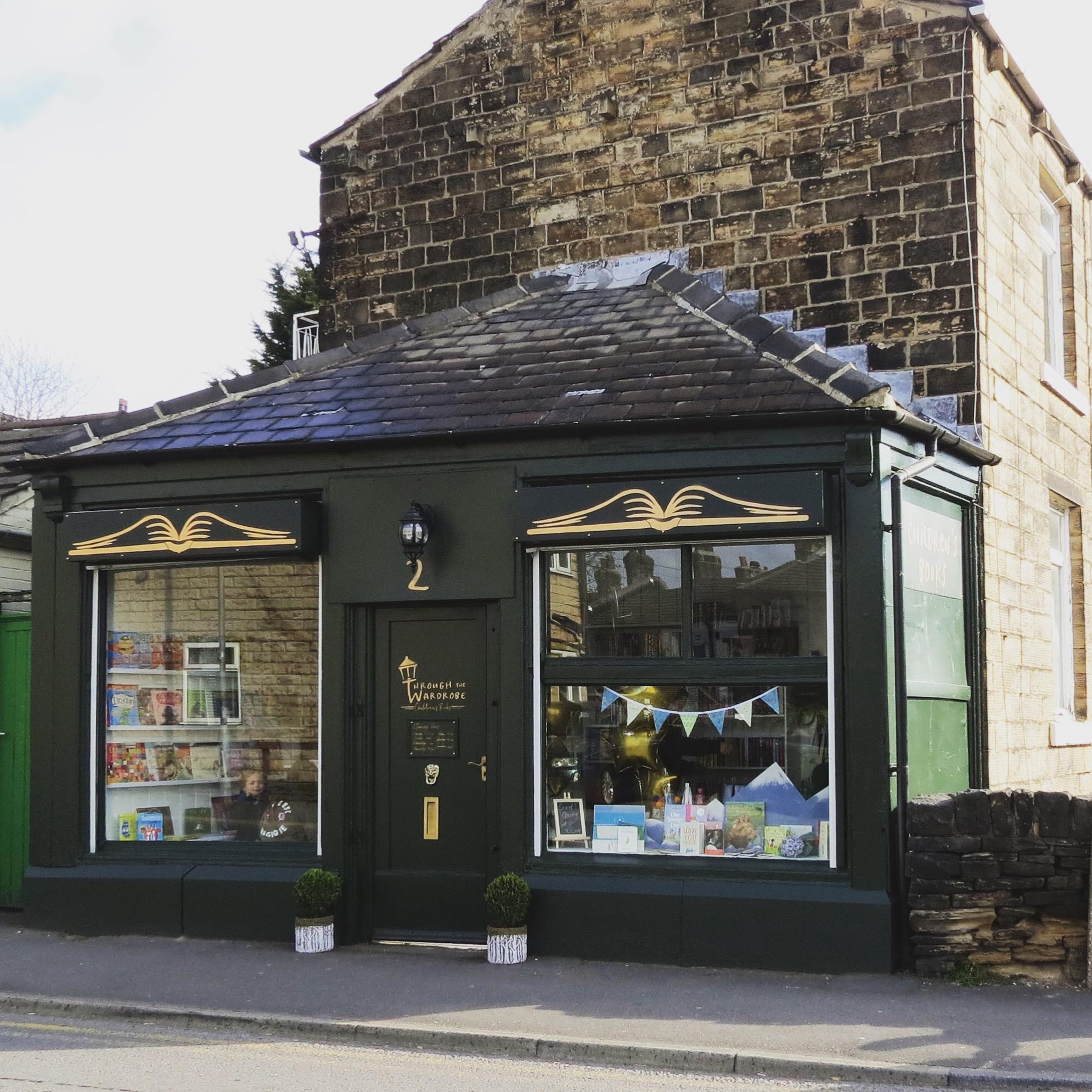 Exterior of the beautiful Through the Wardrobe Children's Bookshop in Mirfield, West Yorkshire
