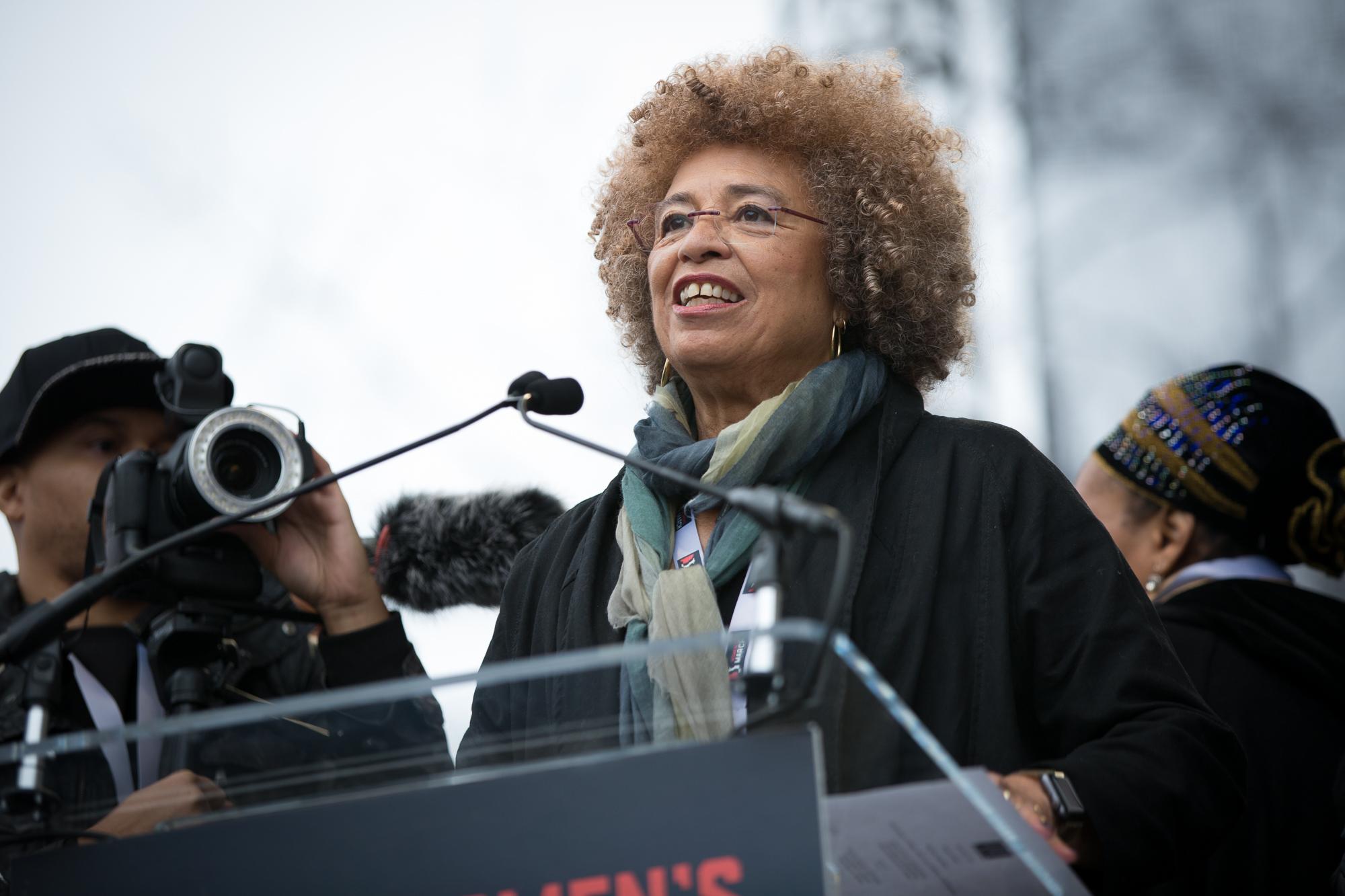 Angela Davis speaks at the Women's March on Washington, Jan. 21, 2017.Photo Credit: Alex Arbuckle