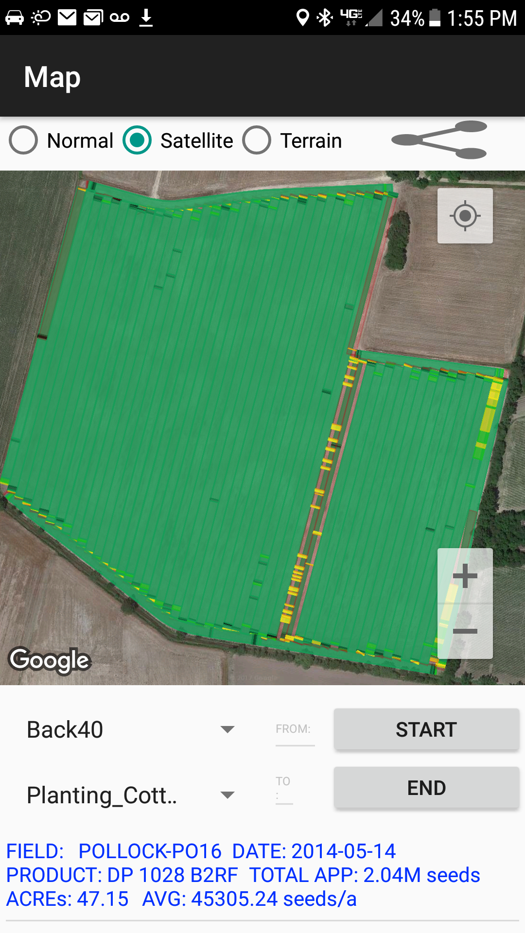 AGBRIDGE™ provides as-applied maps via the mobile app minutes after agbridging!