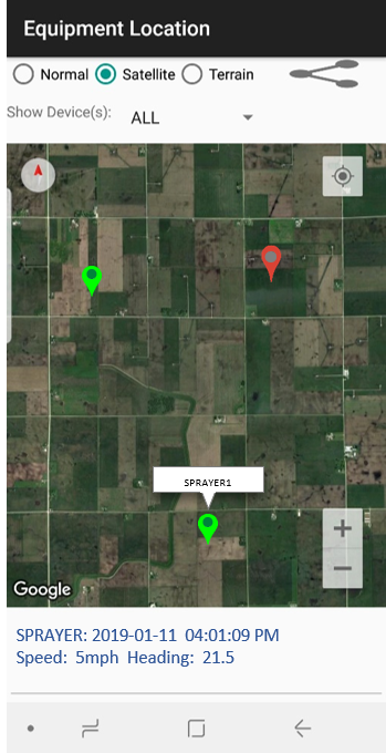 AGBRIDGE™ equipment location map feature helps growers and fleet managers track their equipment!
