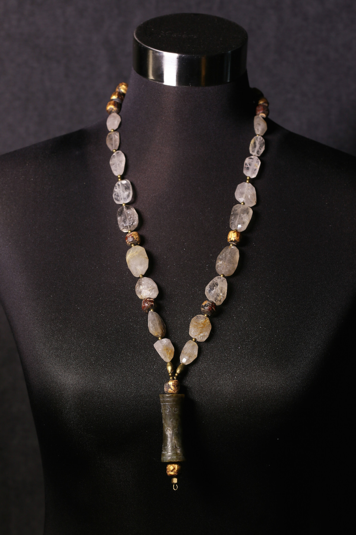 Rutilated Quartz with Archaic Jade Scroll