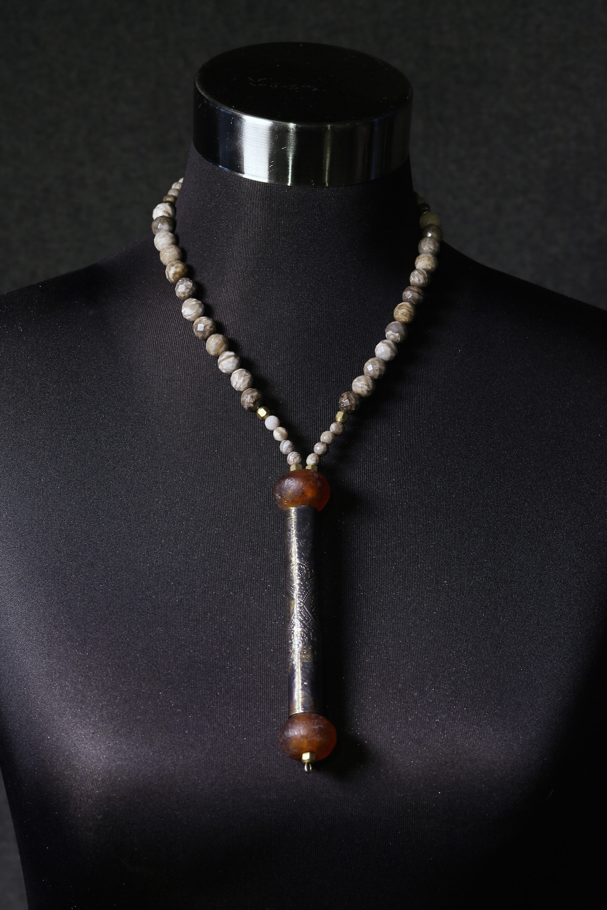 Buddhist Prayer Scroll & Silver Leaf Jasper