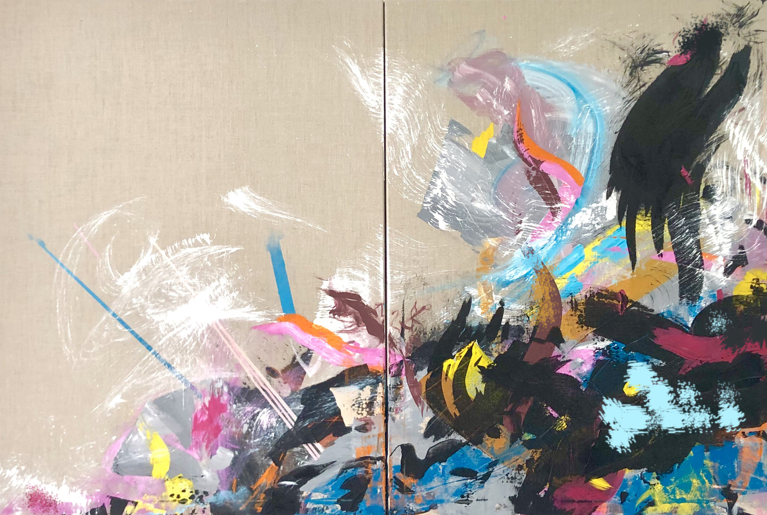 """A Trick of the Tail"", 40 x 60in, diptych on linen"