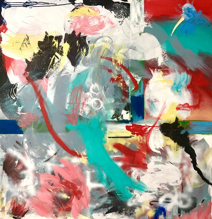 Beautiful Disaster, 2018, 62 x 60 in., mixed media on canvas