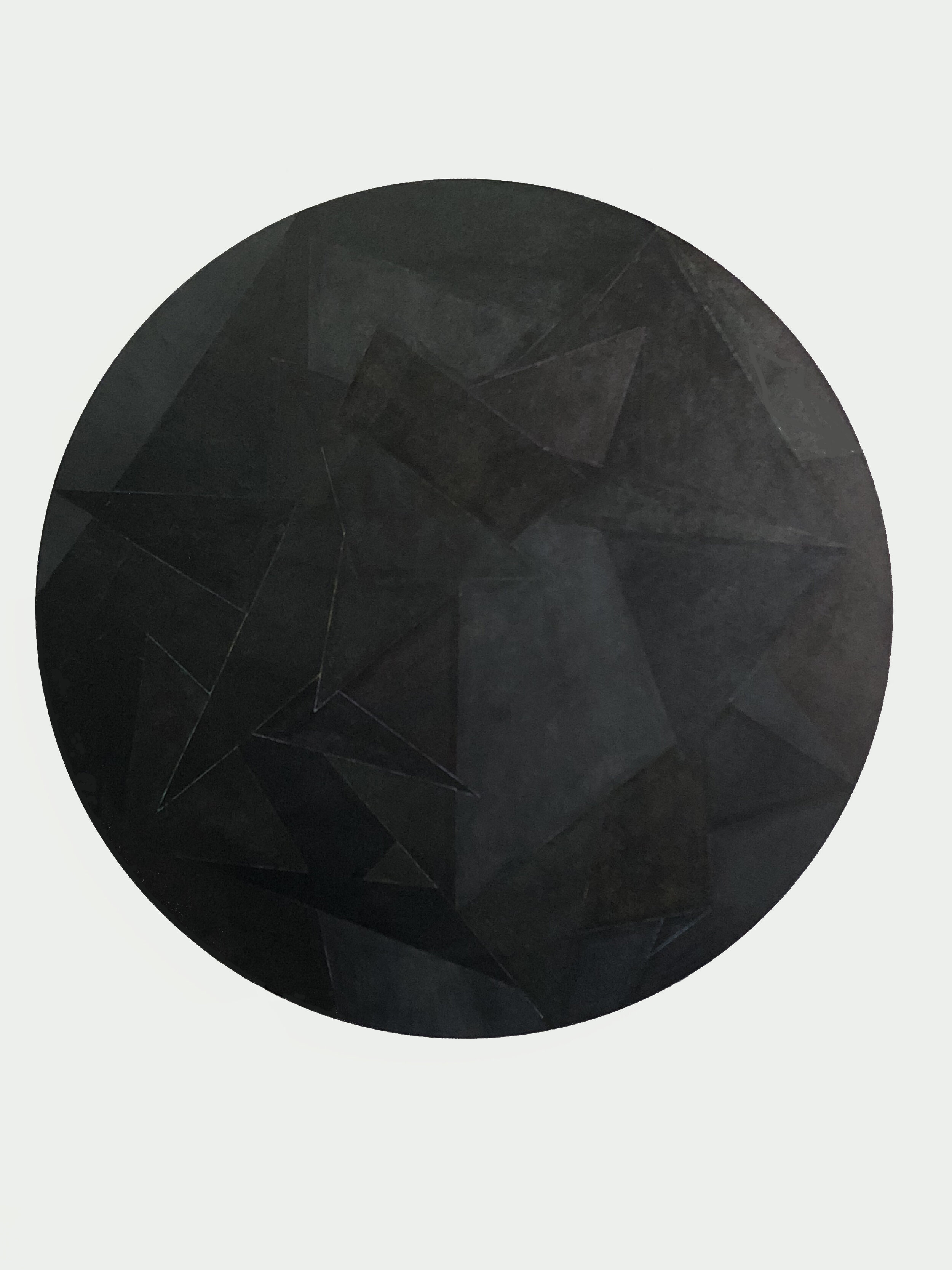 Back To Black, 2018, 42 in. round, acrylic on canvas