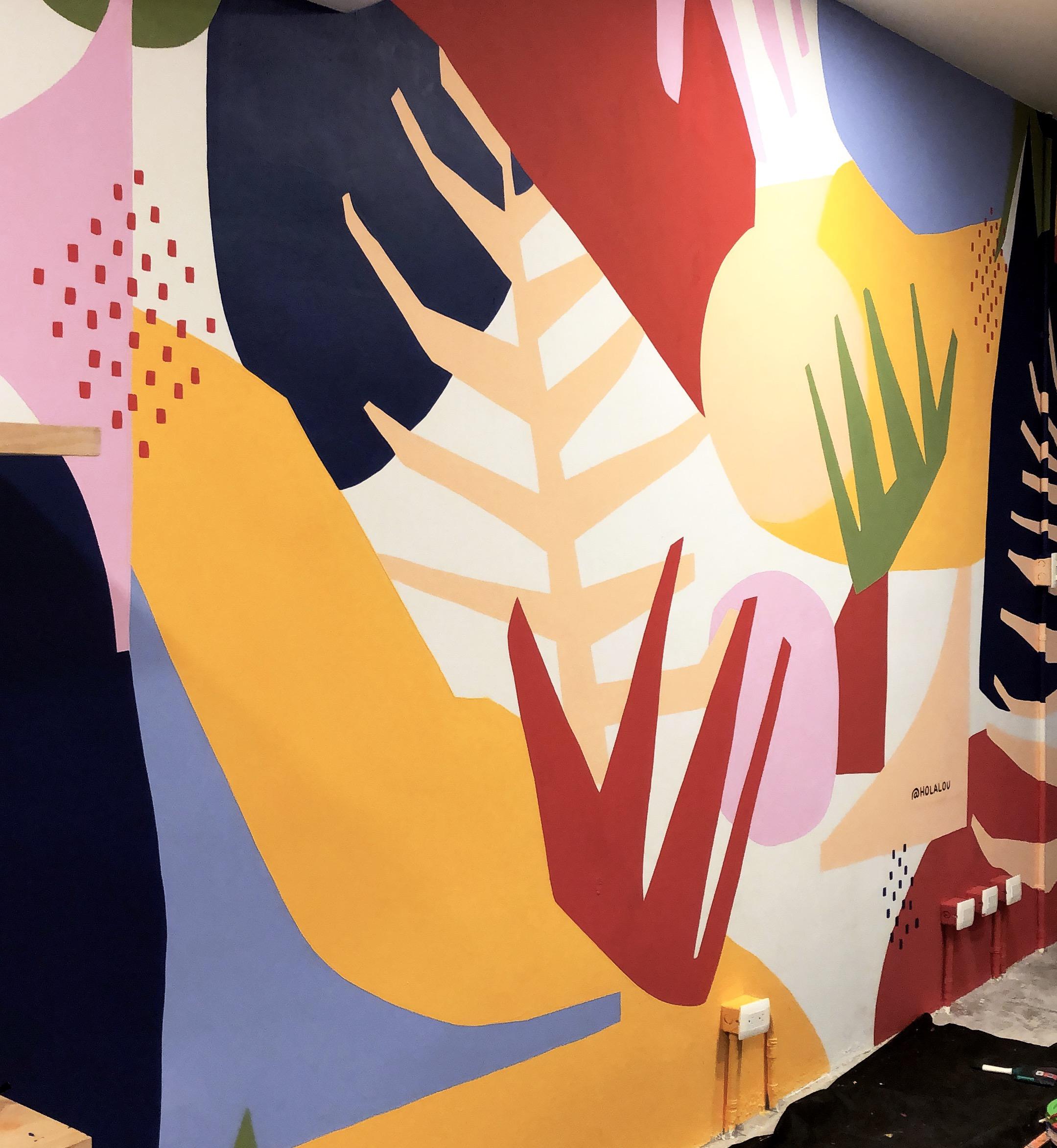 Casa Nawala Cancun Abstract Art Mural by Hola Lou®