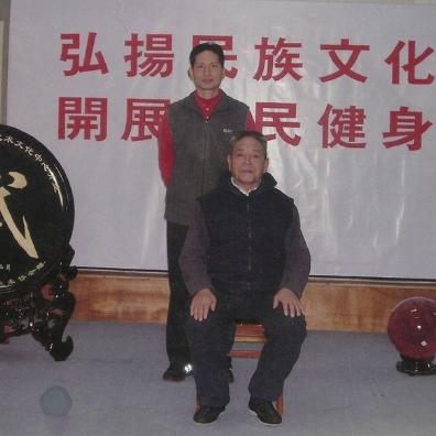 Grandmaster Feng Zhiquiang (front) and Master Tung Kuan Yen