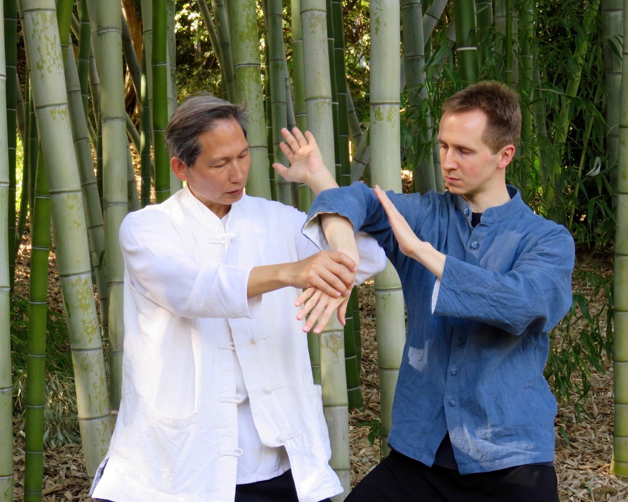 Master Tung, Kuan Yen (left) and Dr. Maarten Vercruysse, The Huntington botanical garden, Los Angeles 2017