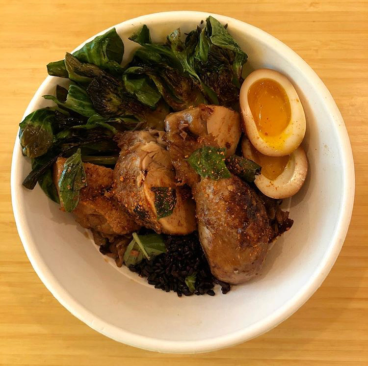 3 Cup Chicken (三杯雞| San Bei Ji) made with Locust Point Farm chickens served with Thai Basil over Forbidden Rice (shown here with additional options of soy-braised egg, sautéed greens)