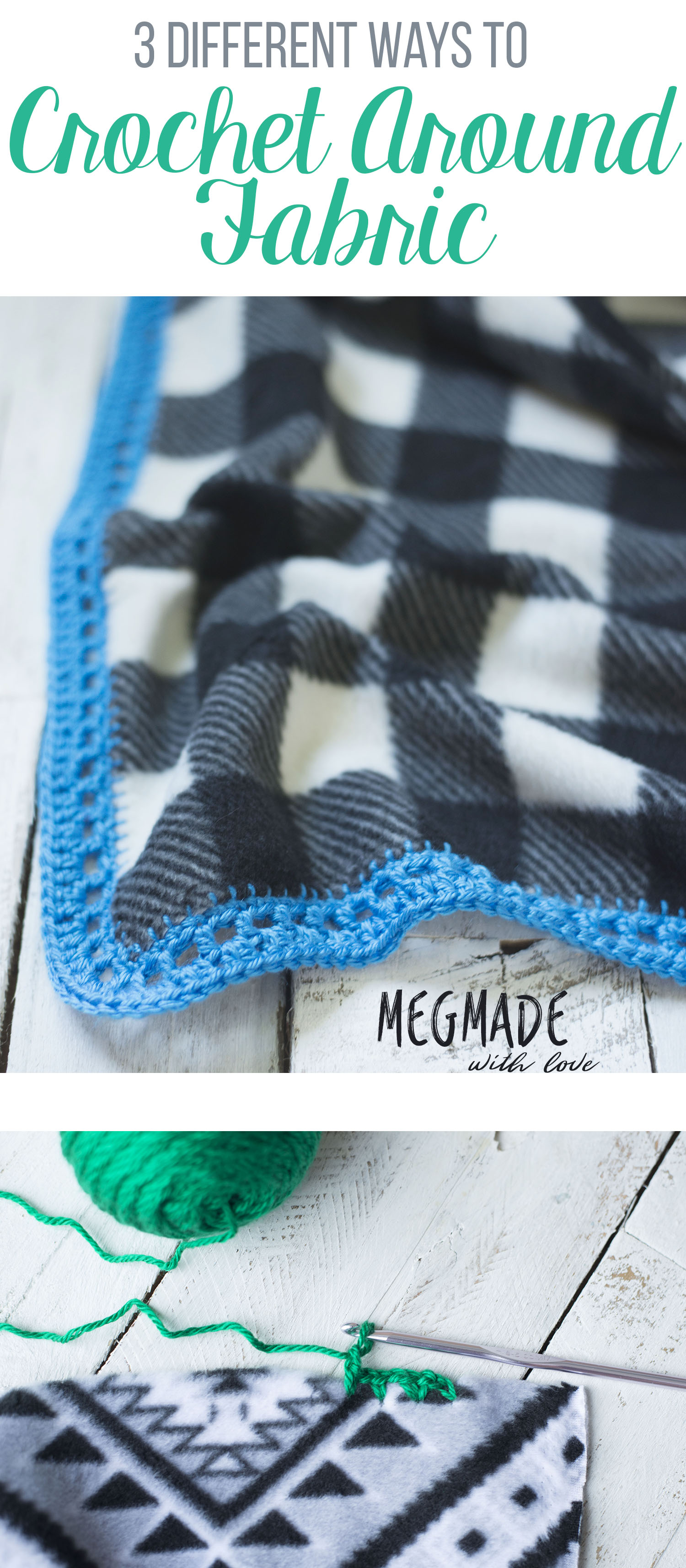 How To Crochet Around Fabric Three Different Ways Megmade With Love