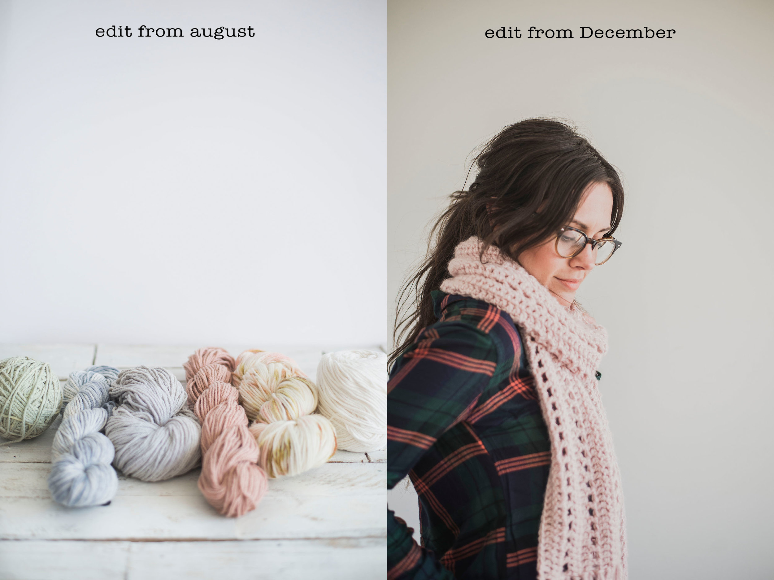 """An example of how my editing has changed these past few months. You can see on the left photo in August that my edit is more bright and """"true white"""". And on the right, my edit has more of a """"cloudy"""" feel. The whites are more gray and it almost looks antique-y."""