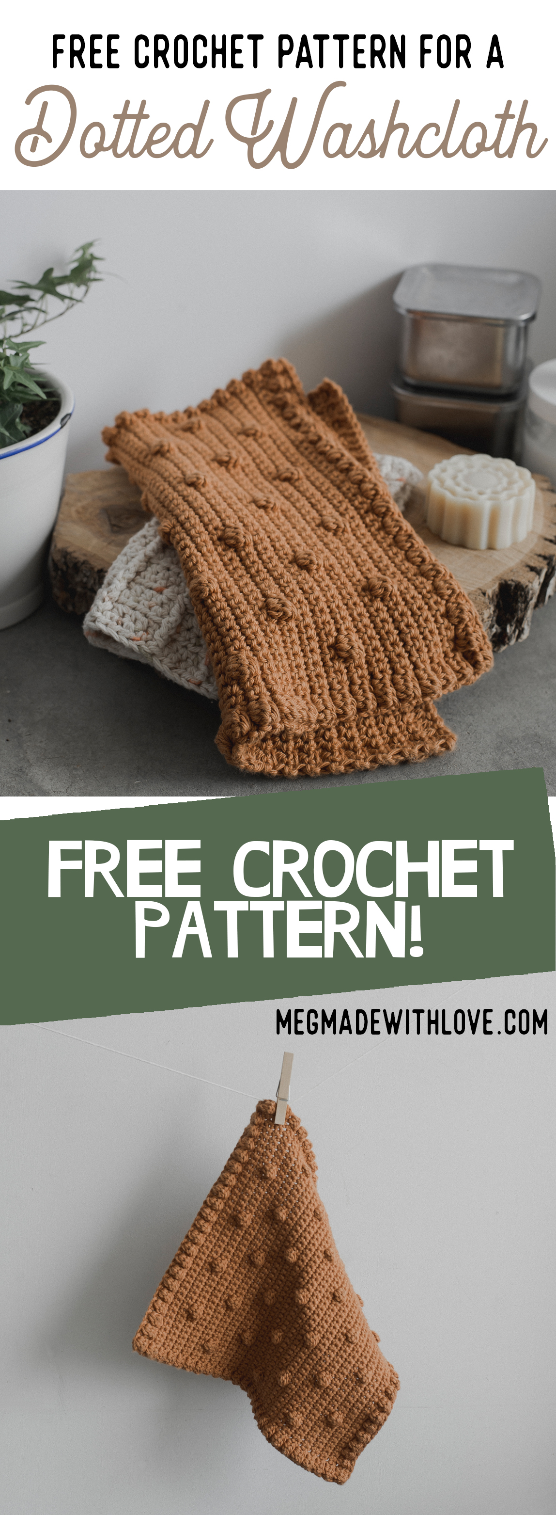 Free Crochet Pattern for a Rustic Dotted Washcloth - Megmade with Love