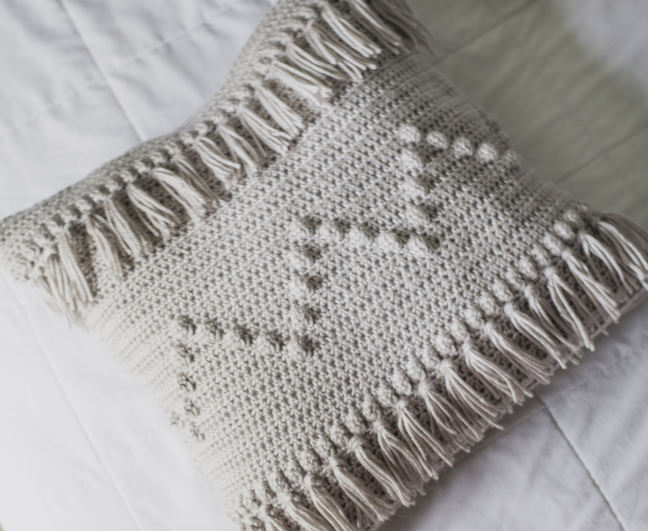Crochet Fringe Pillow - Megmade with Love