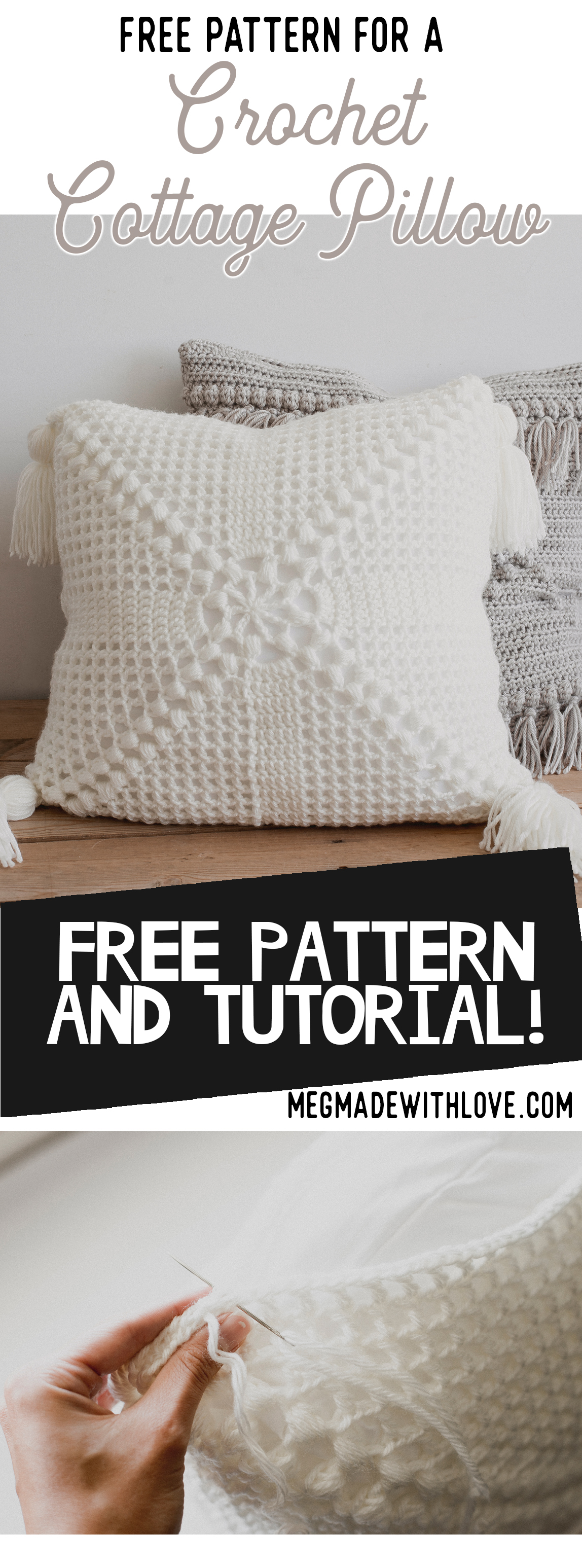 Free Pattern for the Crochet Cottage Pillow - Megmade with Love