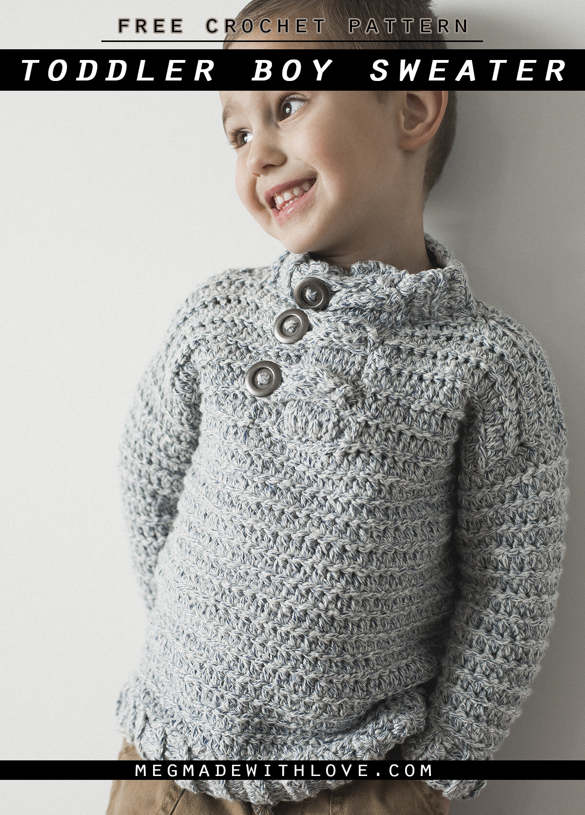 Toddler Boy Crochet Sweater Free Crochet Pattern Megmade With Love