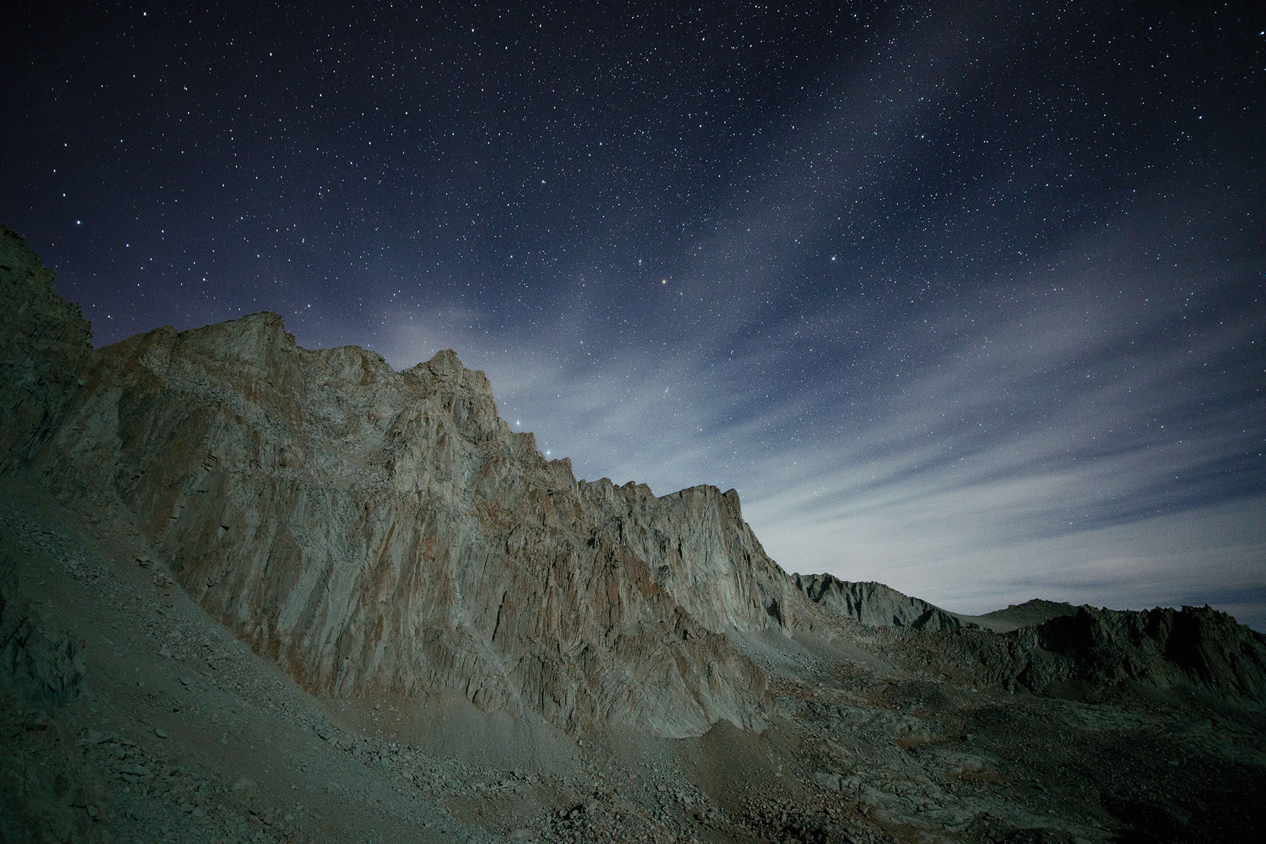 The mighty Mt. Whitney under the nighttime sky