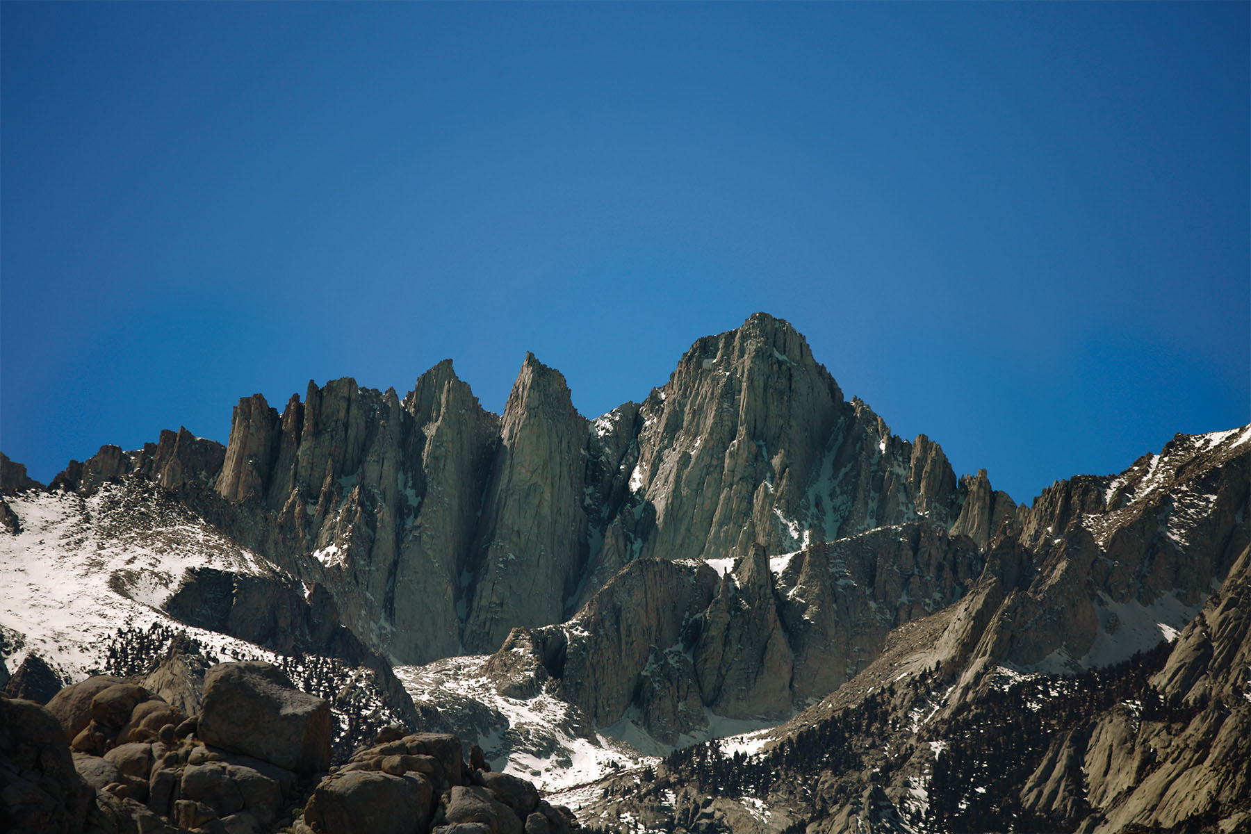 The signature view of Mt. Whitney along with the Keeler Needle and Crooks Peak
