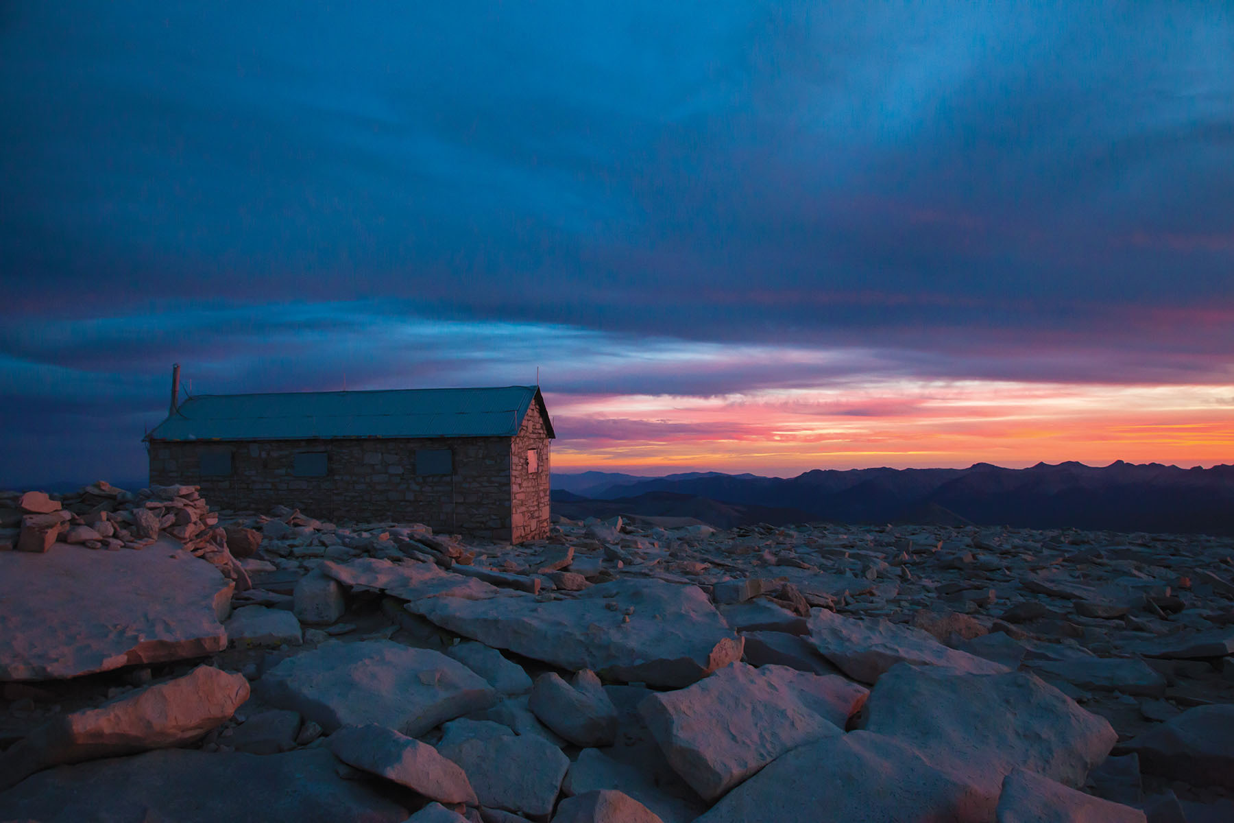 The hut atop Mt. Whitney was originally used for astronomical studies