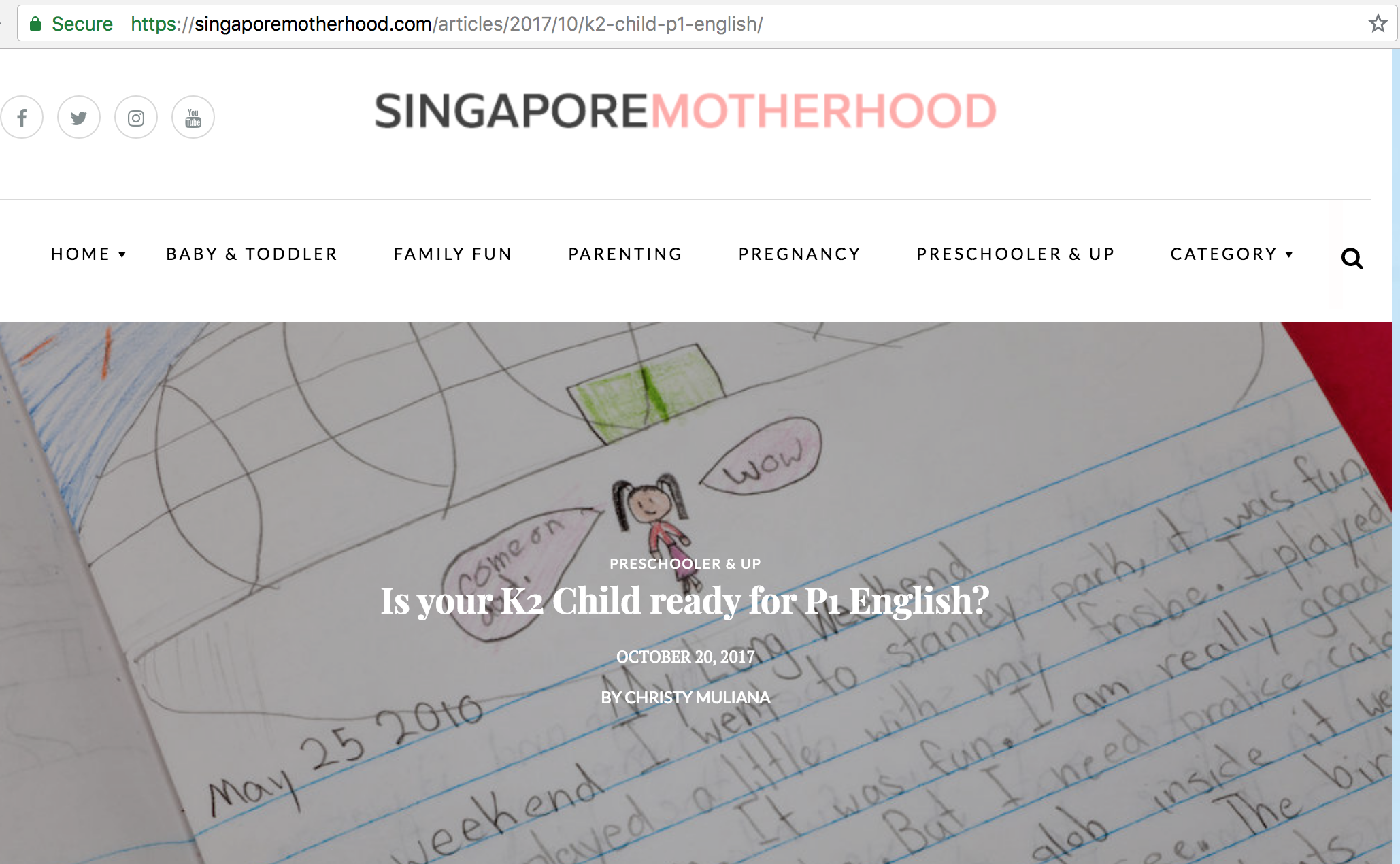 20 October 2018, Singapore mother hood