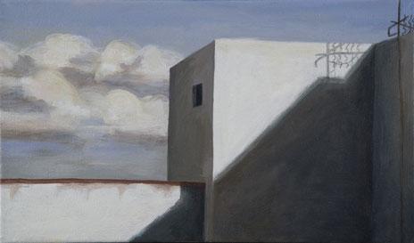 """Mojácar Pueblo I, Spain  8"""" x 14"""" oil/canvas 2008"""