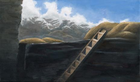 "Tibetan Ladder  8"" x 14"" oil/canvas 2009"
