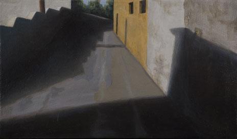 """Morning Shadows, Mojácar, Spain  8"""" x 14"""" oil/canvas 2007"""