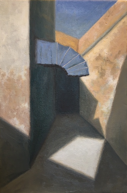 """Fes Passageway II, with Blue Awning, Morocco, 12"""" x 8"""", 2017"""