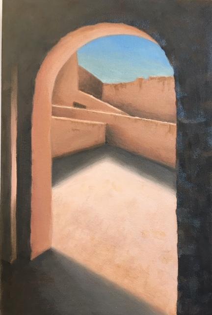 """Fes Passageway IV, Morocco, oil/canvas, 12"""" x 8"""", 2017"""