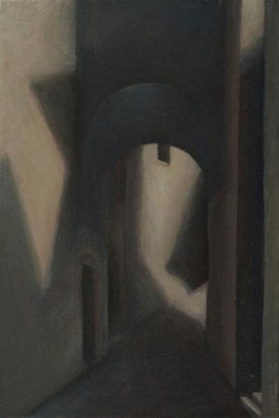 """Viocolo della Torre, Montecastello di Vibio  14"""" x 8"""" oil/canvas 2006"""