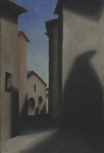 """Via dell'Unita D'Italia, Montecastello di Vibio  12""""x8"""" oil/canvas 2006"""
