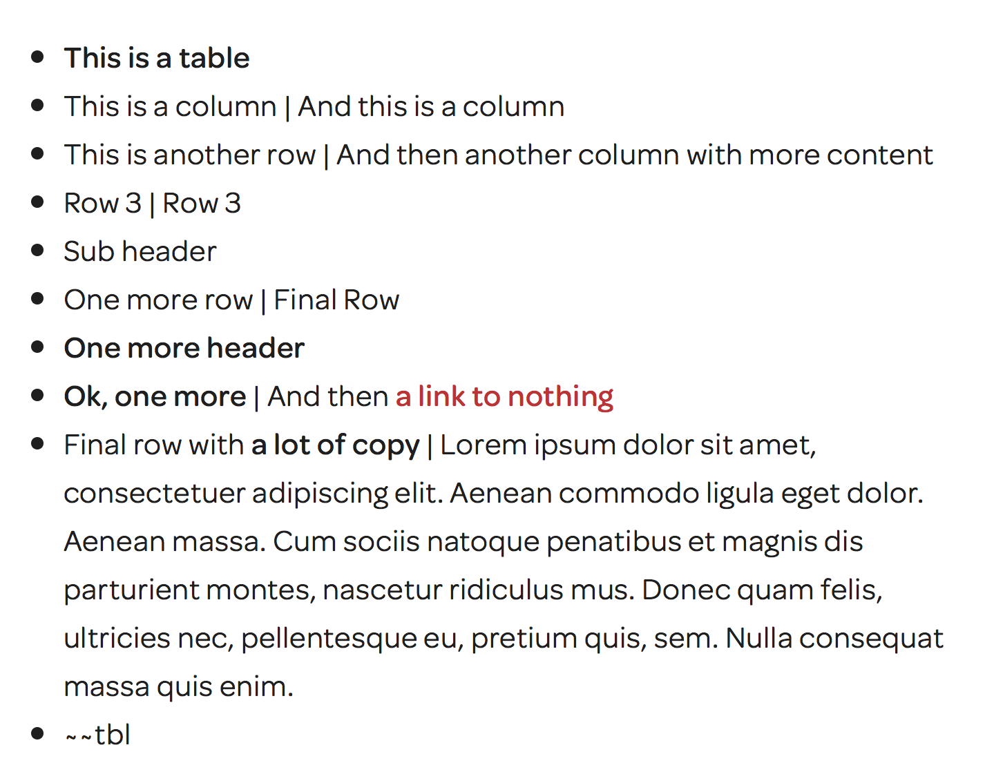 The table above in edit mode - When you're in edit mode, by adding --tbl as the last bullet, this signals the script to create a table out of your list. When you add a pipe | that defines a table row. When you have no pipe, that's a header. No pipe and bold will shade the row.