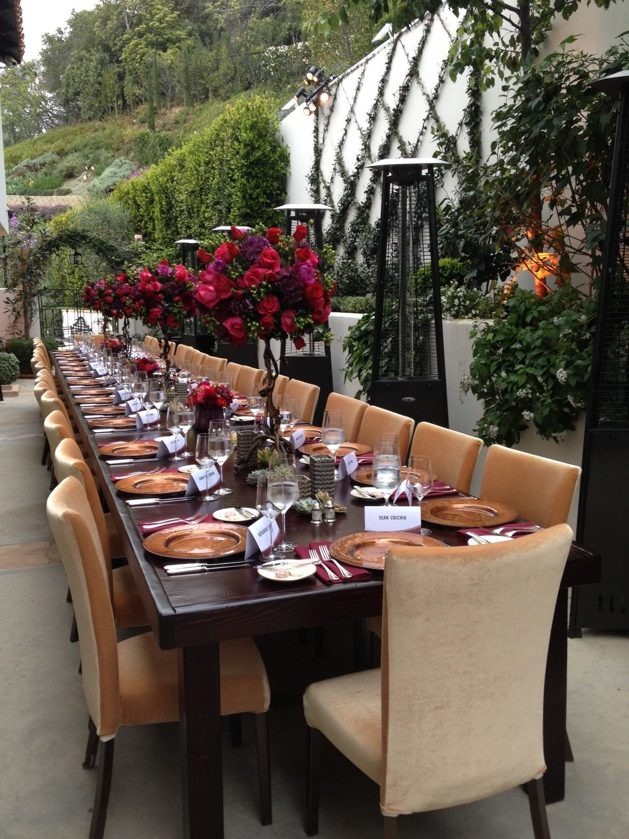 Seated Dinner at Private Residence Florals by  A Private Affair,  Furniture from  Classic Party Rentals