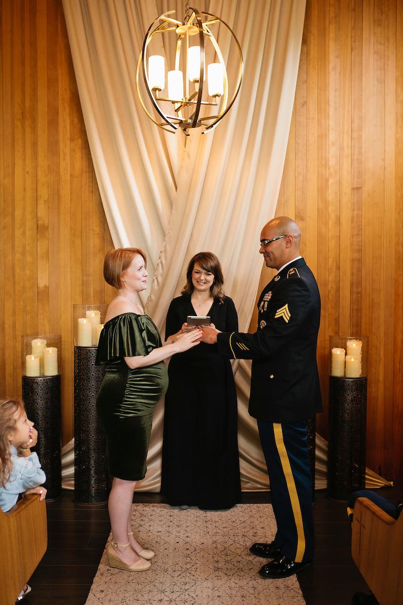 Bride Groom in wedding chapel