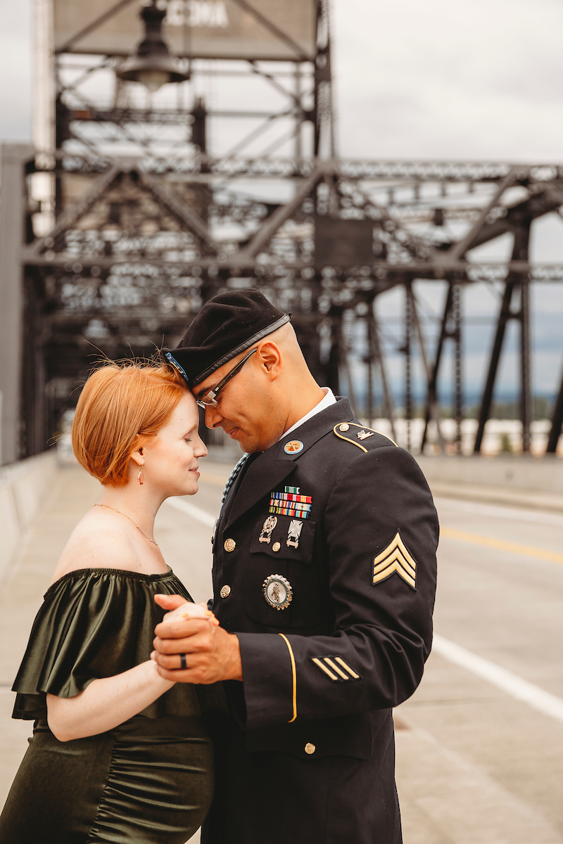 Military couple at Murray Morgan Bridge