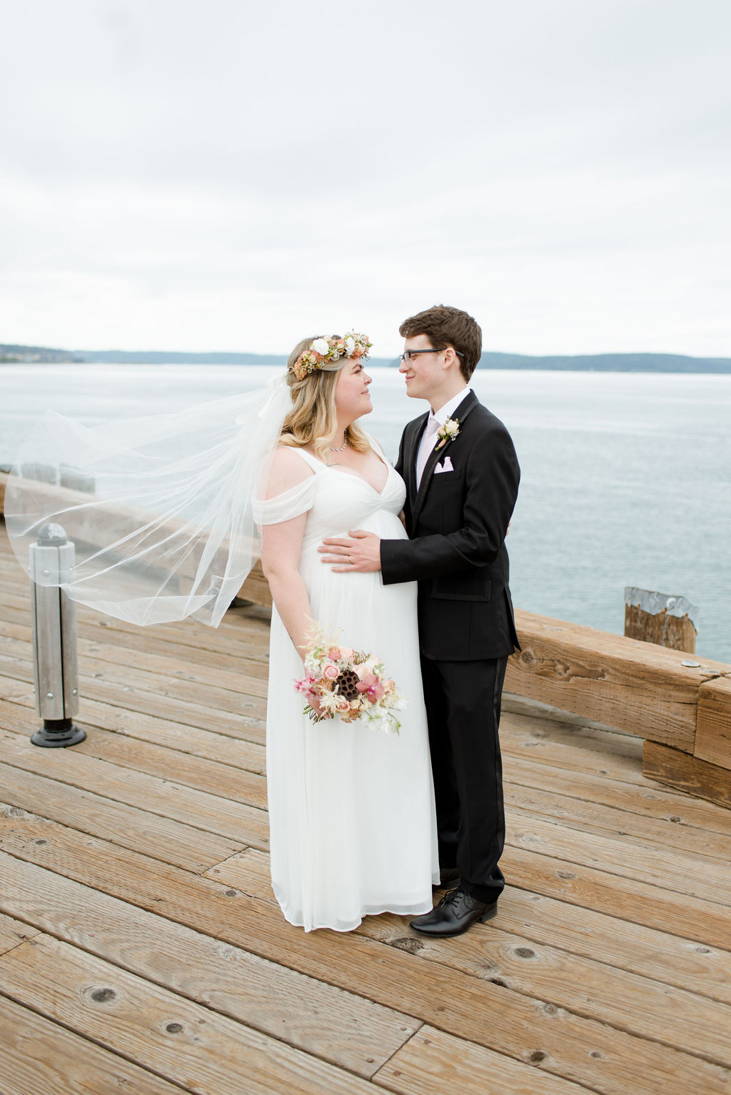 Newlyweds on Old town dock in Tacoma