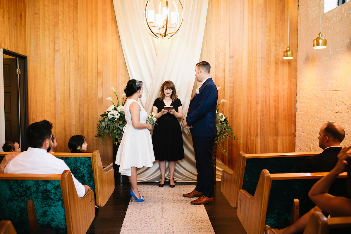 Bride and groom getting married at Elope 253