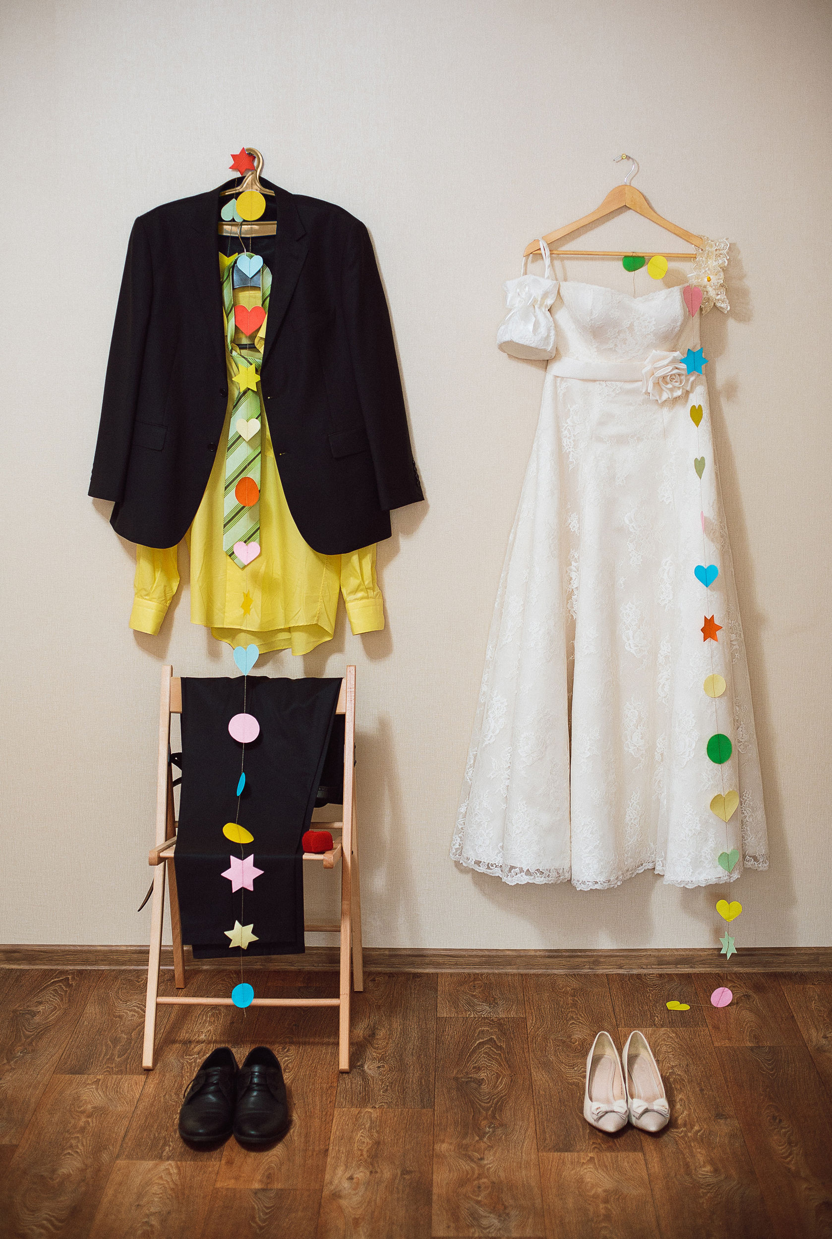 Groom and Bride outfits waiting to be worn
