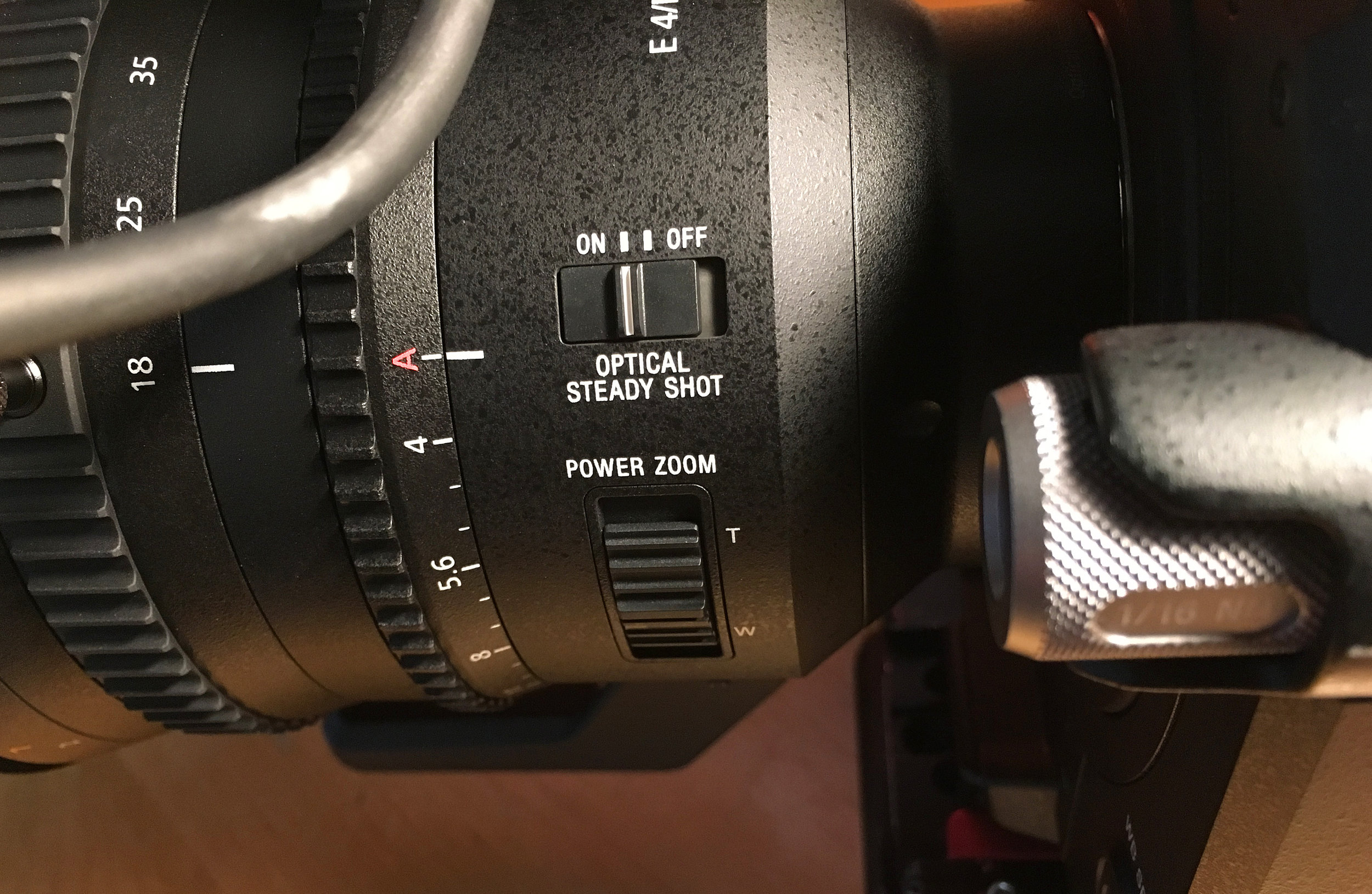 """The aperture on the Sony 18-110 f/4 zoom lens can be controlled from the FS7 when set to the """"A"""" position."""