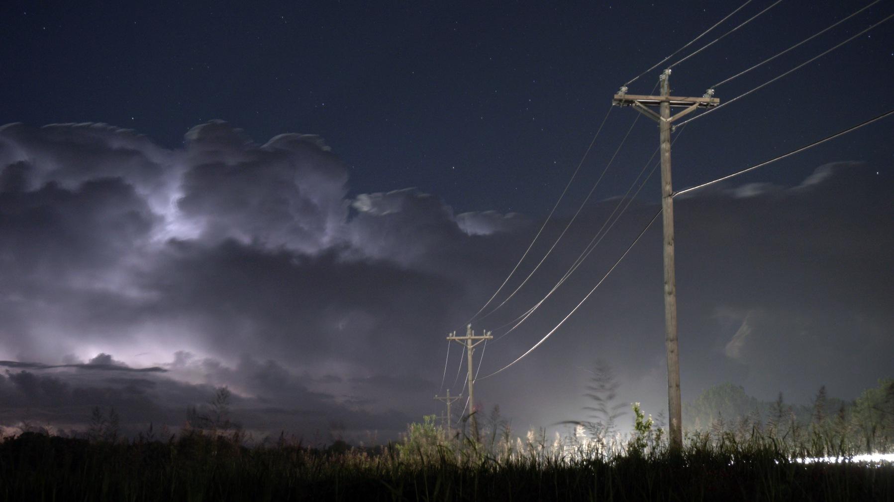 Severe storm below a star filled sky, Hillsboro, Texas.