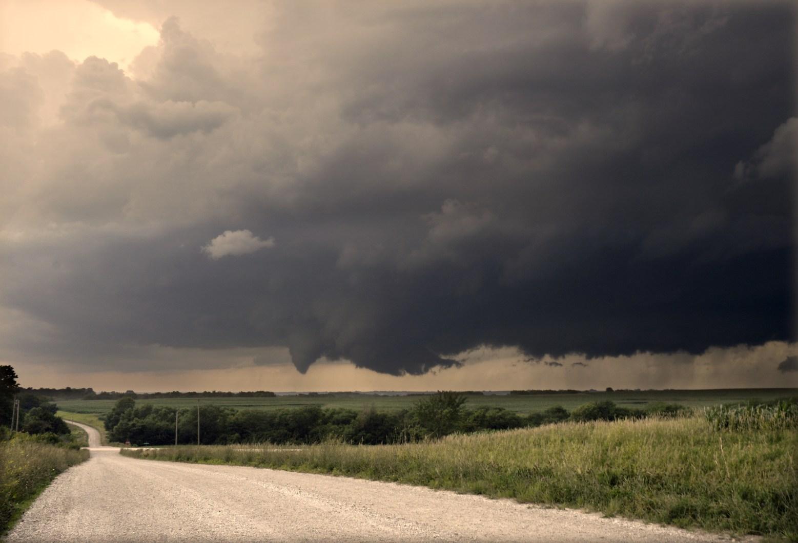 Birth of a tornado, southwest Iowa.