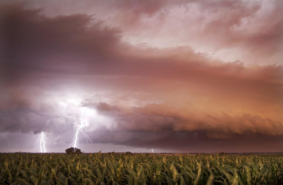 Supercell lit by setting sun, Nebraska.