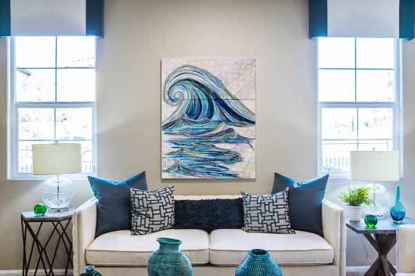 'Rising Tide' in a midcentury modern interior