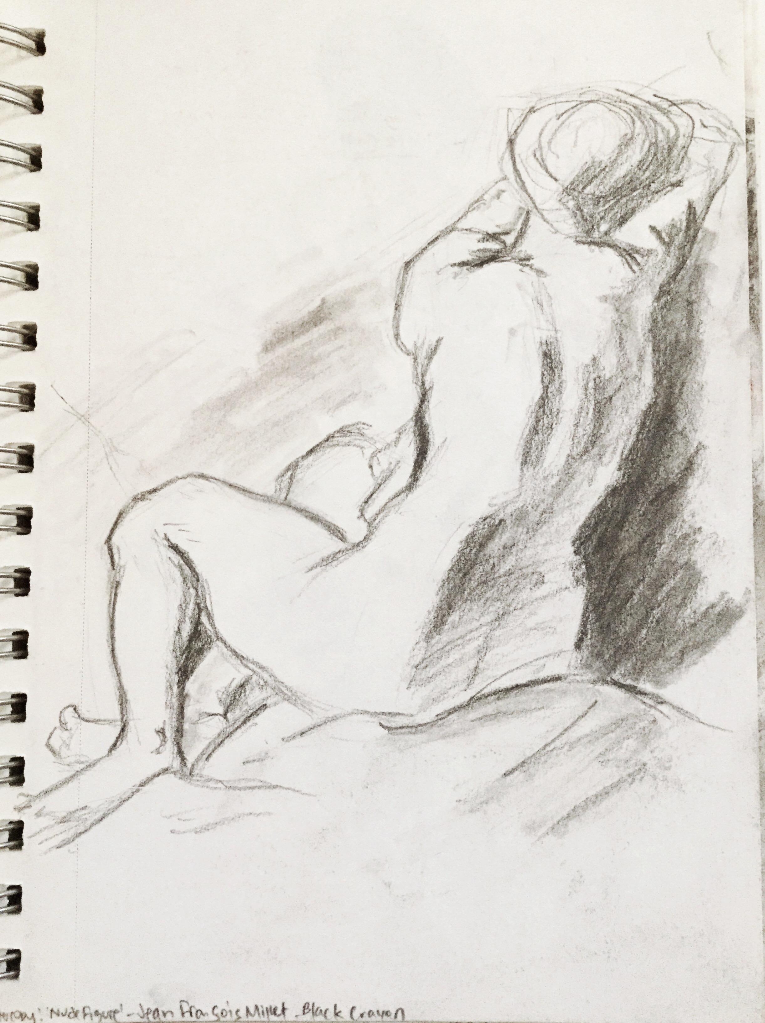 Master Copy of Jean Francois Millet's Nude Figure
