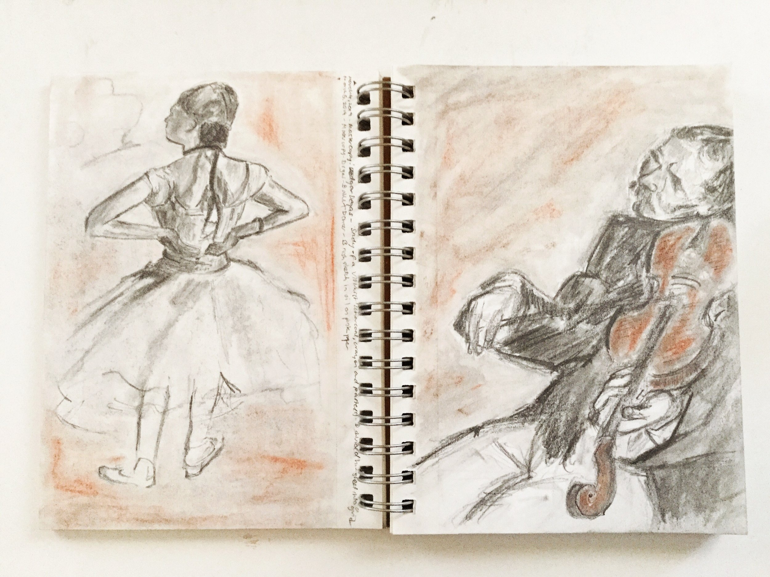Master Copy of Edgar Degas' Ballet Dancer and Study of a Violinist