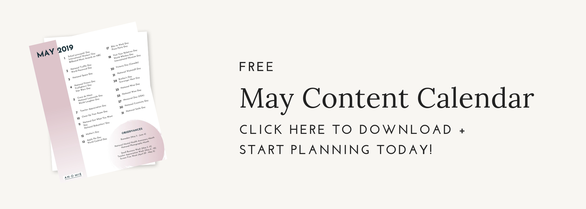 May Content Calendar Opt In