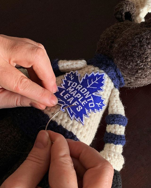 Finishing touches on a custom moose poppet Go leafs! 🍁  #handcrafted #crochet #moose #canadian