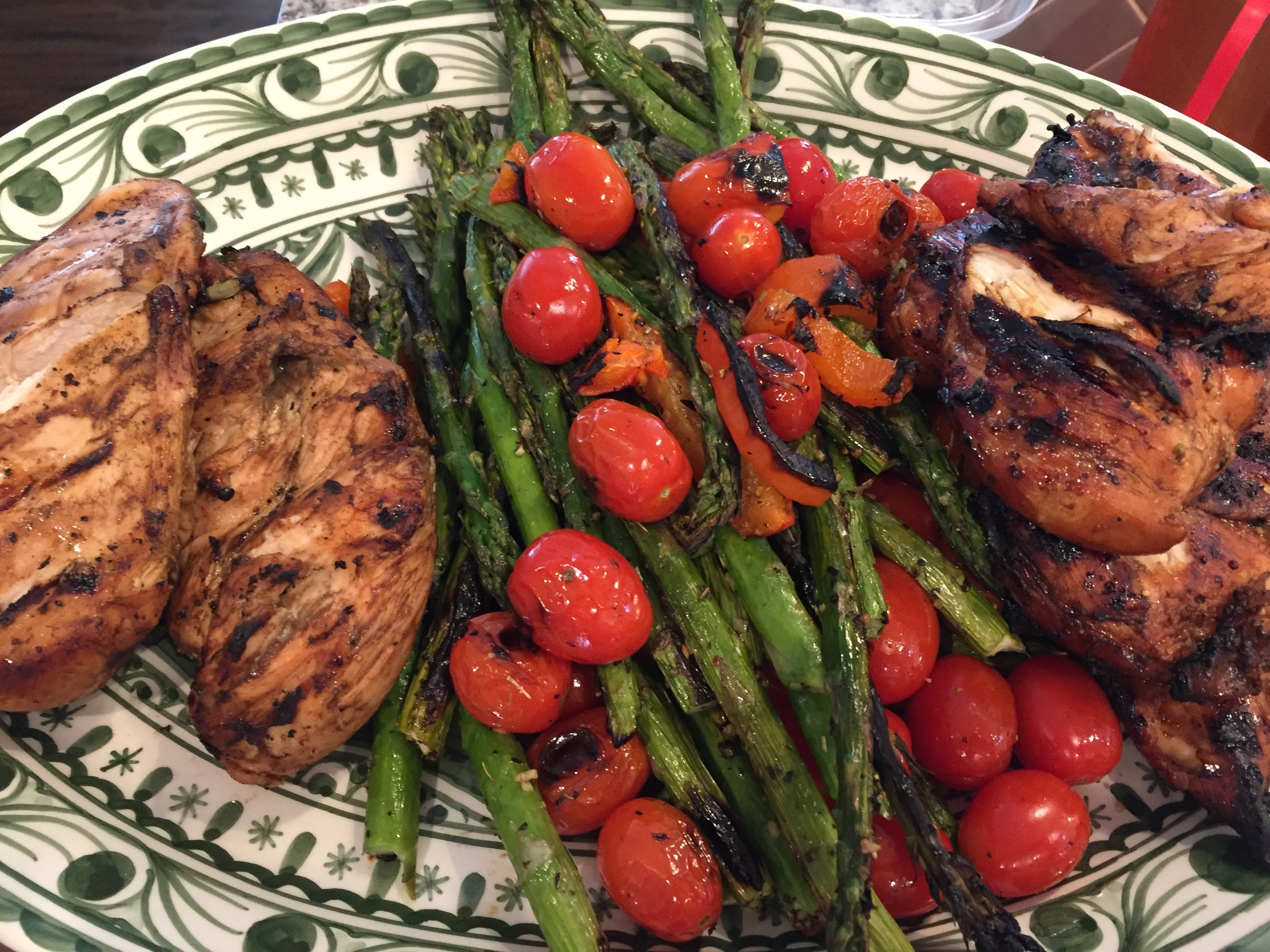 Balsamic Grilled Chicken, Asparagus and Tomatoes