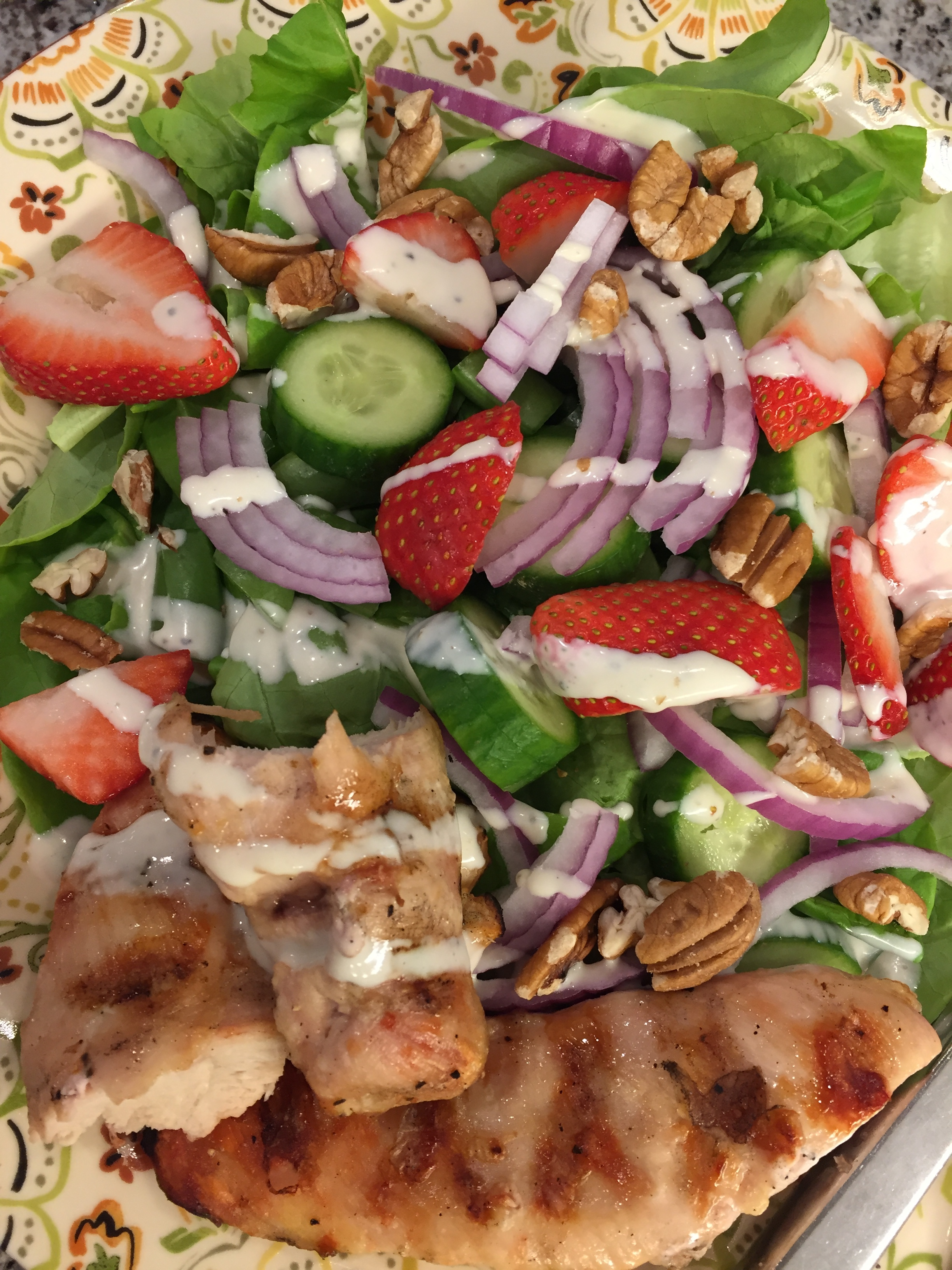 Strawberry Chicken Salad with Fresh Goat Cheese Dressing